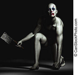 An isolated crazy looking clown holding an axe.
