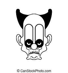 Scary clown evil head. Terrible eyes. Vector illustration