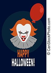 Scary clown with red balloon. - Stock vector
