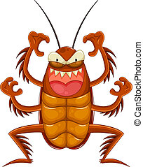 cartoon cockroach looking scary