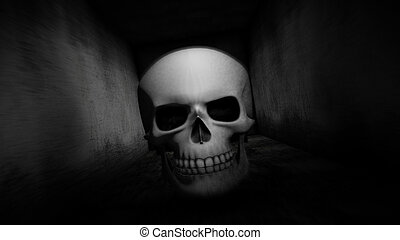 Scary corridor. Skull in the dark corridor