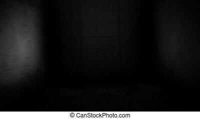 Scary corridor. Skull in the dark corridor - Skull in the...