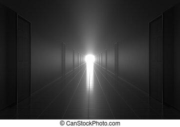 Scary dark misty corridor. Afterlife concept.