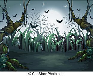 Scary Dark Night in Forest