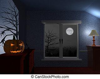 Scary Dark Room On Halloween Night