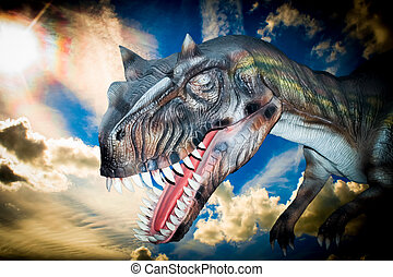 Scary Dino Tyrannosaurus Rex in a dark sky