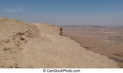 Scary edge of cliff at Makhtesh Ramon crater