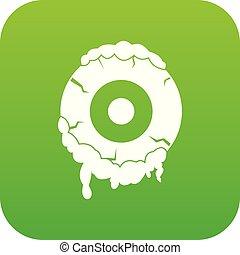 Scary eyeball icon digital green