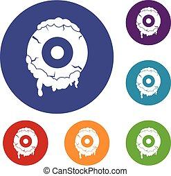 Scary eyeball icons set