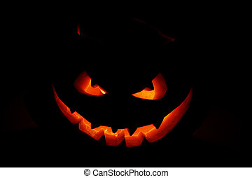 Scary face of Halloween pumpkin