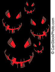 Vector scary face on black (Halloween illustration)