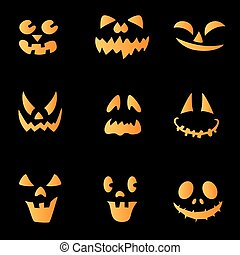Scary faces of Halloween pumpkin