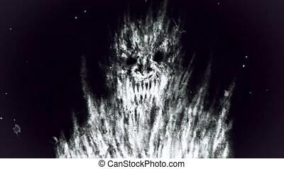 Scary ghost of nightmare. Damaged film strip. Vj looped...