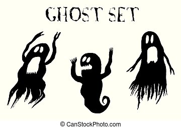 Scary Ghost set, isolated on white background