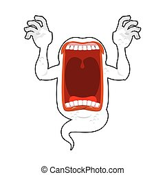 Scary ghost shouts. Horrible wraith frightening screams. ...