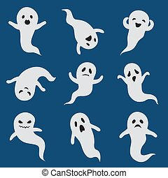 Scary ghosts. Cute halloween ghost. White silhouette vector ...