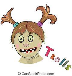 Scary girl troll. Illustration on white background