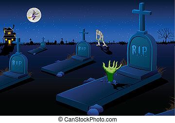 Scary Graveyard - illustration of night scene of graveyard...