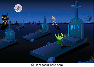 illustration of night scene of graveyard with mummy and flying witch