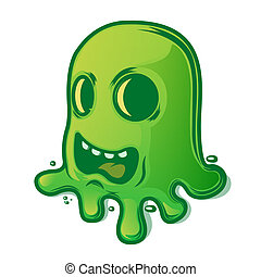 Scary green slug isolated on white background. Halloween...