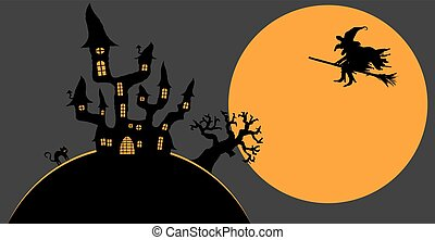 scary Halloween background - dark castle and witch in front ...