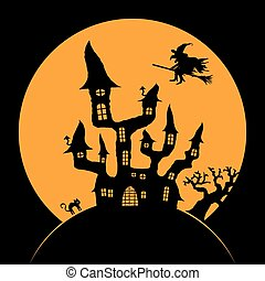 scary Halloween background - dark castle and witch in front...