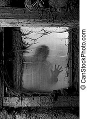 Scary halloween background - Photo of a zombie outside a...