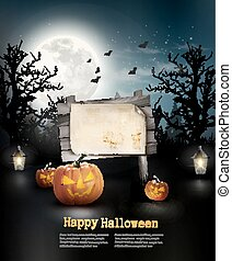 Scary Halloween background with a wooden sign. Vector