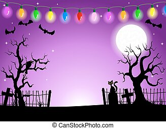 scary halloween background with cemetery in the dark night