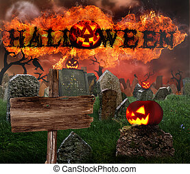 Halloween background - Scary Halloween background with fire...