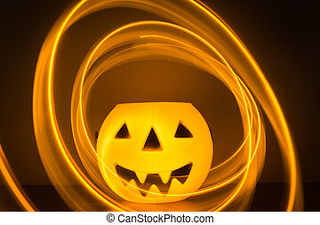 Scary Halloween background with pumpkins