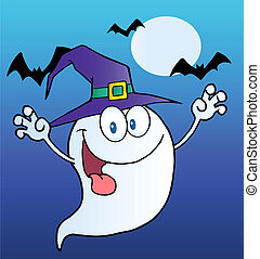 Scary Halloween Ghost - Spooky Ghost Wearing A Witch Hat...
