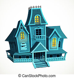 Scary Halloween haunted house isolated on a white background