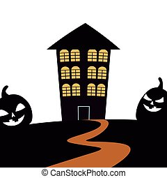 scary halloween house and pumpkins