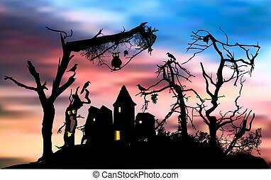 Scary halloween house in a terrifying forest with owl and birds