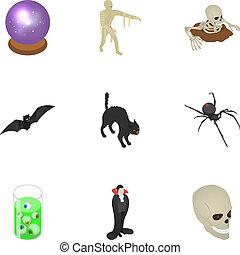 Scary halloween icon set, isometric style