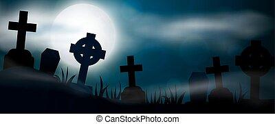 Scary Halloween illustrationl - Night cemetery, crosses,...