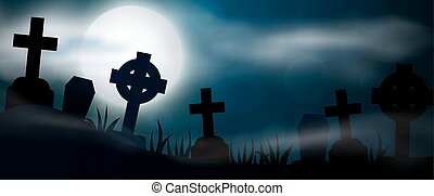 Scary Halloween illustrationl - Night cemetery, crosses,...