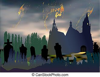 Night landscape with silhouette of orthodoxy church and
