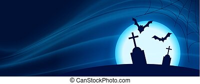 scary halloween night scene with flying bats and grave