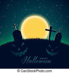 scary halloween night scene with full moon