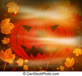 Scary Halloween Pumpkin and Magic Leaves
