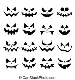 Scary Halloween pumpkin faces icons - Vector icons set for ...