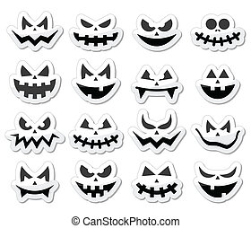 Vector icons set for Halloween - evil, spooky faces isolated on white