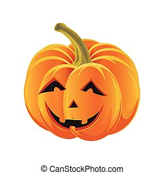 Scary Halloween pumpkin isolated on white