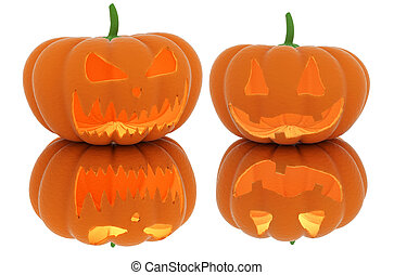 Scary Halloween pumpkin lantern with a candle inside.