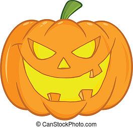 Scary Halloween Pumpkin Cartoon Illustration