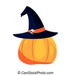 scary halloween pumpkin with hat