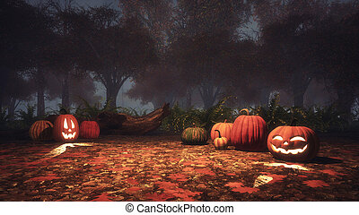 Scary halloween pumpkins in misty forest at dusk - Scary...