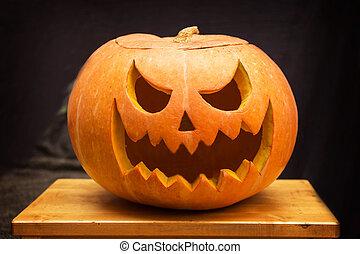 Scary Halloween pumpkins lanterns